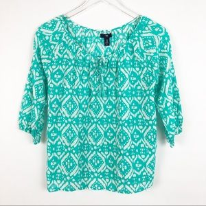 GAP | Peasant Blouse in Teal & White Sz XS